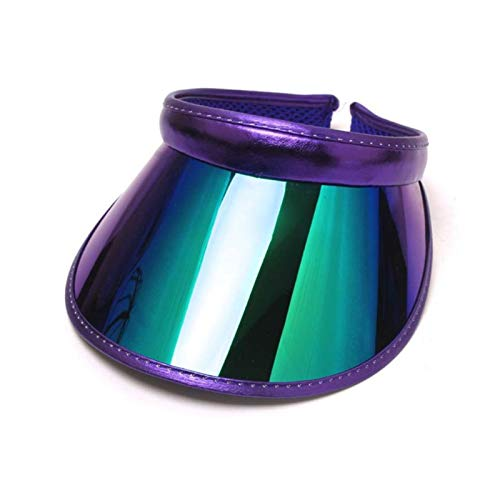 JSJJAJN Mujeres Hombres Holograma Amplio Amplio Brim Sun Viseras Sombrero Sombrero Topless Sun Gafas de Sol UV Protección de plástico Ropa Deportiva Clip-en Tapa de Verano Sombrero