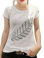 Heaven Days(ヘブンデイズ ) Tシャツ トップス 半袖 カットソー ラインストーン クルーネック 羽柄 レディース 2006C0010