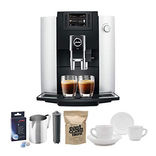 Jura 15070 E6 Automatic Coffee Center, Platinum Includes Filter Cartridge, Cleaning Tablets, Frothing Pitcher, Coffee Beans and 2 Ceramic Cups and Saucers