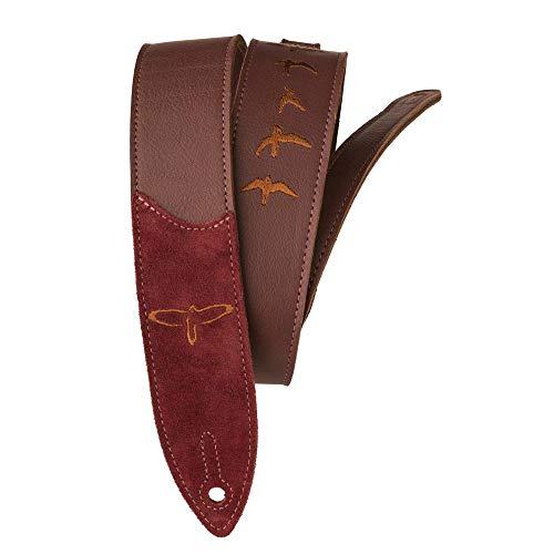 PRS Guitars Premium Leather 2' Strap Embroidered Birds, Burgundy (ACC-3167)