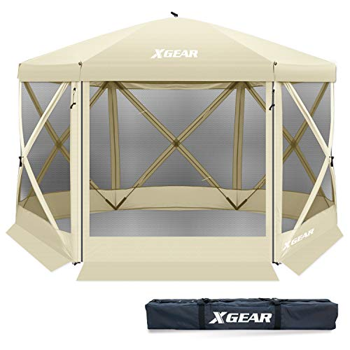 XGEAR Pop Up Easy Install Camping Screen House Canopy Instant Gazebo (Beige)