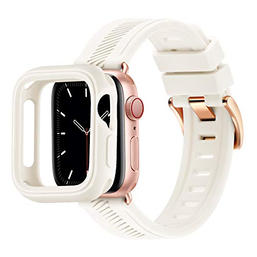RTYHI Compatible con Apple Watch Correa de 44 mm, 40 mm, 42 mm, 38 mm, silicona suave, correa de repuesto extraíble, compatible con iWatch Series 6/SE/5/4/3/2/1 (38 mm, 40 mm, blanco/oro rosa)