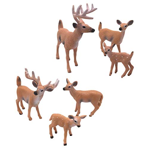 SUPVOX 6pcs White-Tailed Deer Figuren Ornamente Tierfiguren Sammlung Spielzeug Home Office Dekoration Handwerk Geschenk
