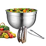 Salad Chopper Blade and Bowl – Stainless Steel Salad Cutter Bowl & Salad Chopper Knife with Double Blade Protective Covers Salad Cutter – Ultra-Fast Salad Prep by SunDiao