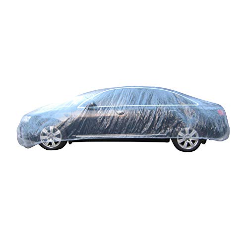 Etopars Clear Plastic Disposable Universal Elastic Band Car Covers Rain Dust Garage Cover Waterproof Temporary Auto 12ft X 22ft