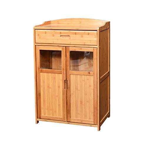 Kitchen furniture - Armoire de rangement au sol avec porte et tiroir en bambou pour micro-ondes WXP (taille : 60X38X90CM)