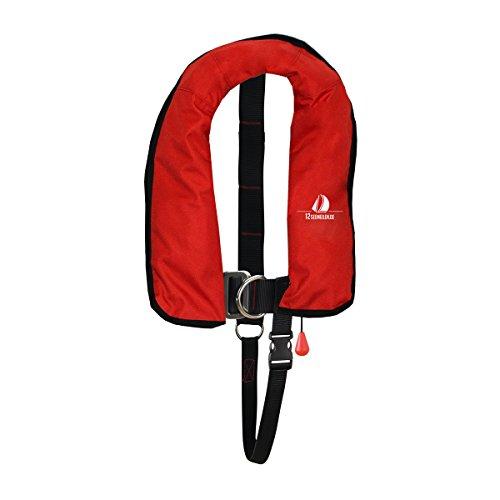 12skipper Kinder Kids Junior Automatik-Rettungsweste 150N ISO mit Harness | versch. Farben (Rot, 150N)