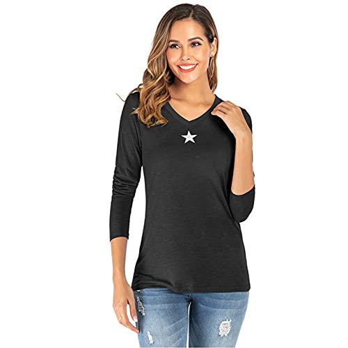 SLYZ T-Shirt A Maniche Lunghe da Donna Fresca E Autunnale Primaverile E Autunnale T-Shirt A Maniche Lunghe con Stampa di Stelle A Cinque Punte con Scollo A V da Donna