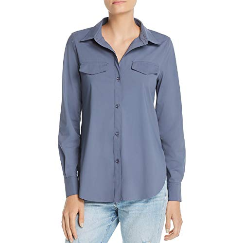 Lysse Womens Brinkley Casual Long Sleeves Button-Down Top Blue XS