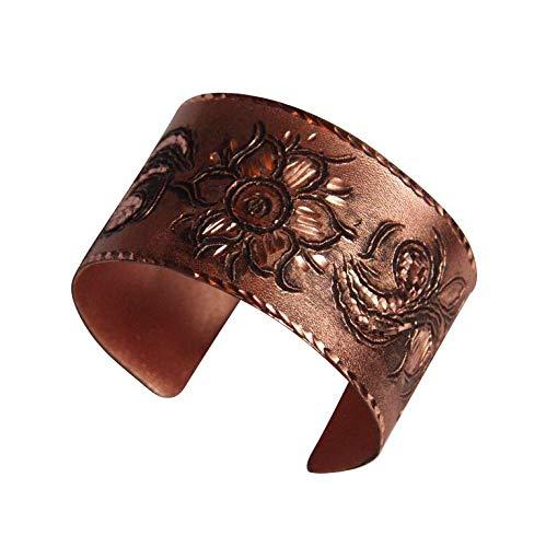Orient-Feinkost Kupfer Armreif Armband Spange HELL mit Blumenmotiv - Handarbeit - Hautfreundlich beschichtet