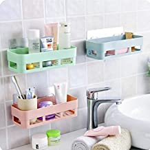 2Q2Q Multipurpose Kitchen Bathroom Shelf Wall Holder Storage Rack Bathroom Rack Storage Box Strong Magic Sticker Shower Rack Shelf - Random Color (Pack of 3)