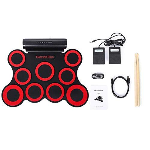 Conjunto del tambor Kit de tambor de asistencia electrónica 9 de silicona pad rueda for arriba un juego de batería electrónica USBPractice con altavoz auriculares pedales de sostenido palillos del tam