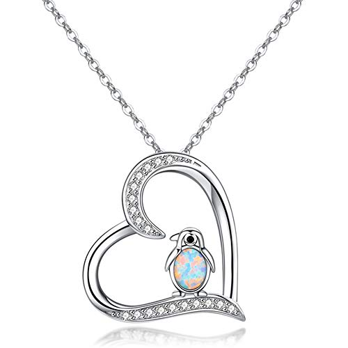 KINGWHYTE 925 Sterling Silver Penguin Necklaces Cute Animal Heart shaped Lucky Opal jewellery for Women Girls penguin gifts Mummy Gifts - 18' + 2' Silver Chain (C Penguin Necklace)