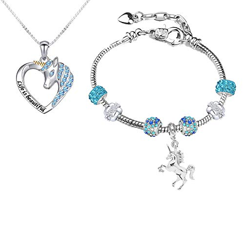 HTHONOR . TRUST Girls Jewelry Set Unciorn Pendant Necklace Charm Bracelets Unicorn Gifts for Girls Teens Women