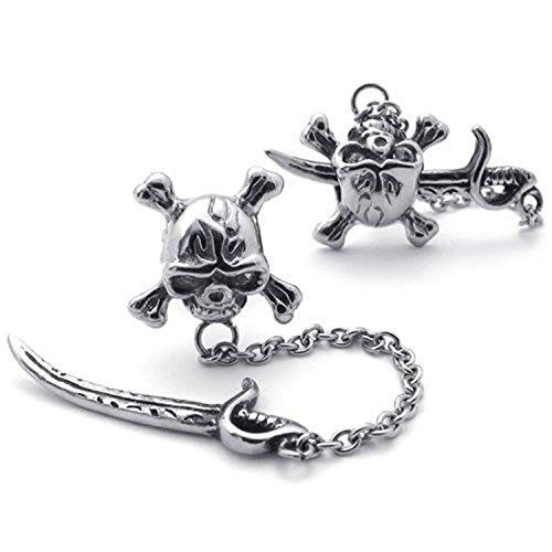 SODIAL(R) Pendientes de joyeria de hombres, pernos prisioneros de estilo retro gotico de hueso de craneo de piratas de motoristas de acero de titanio, plateado