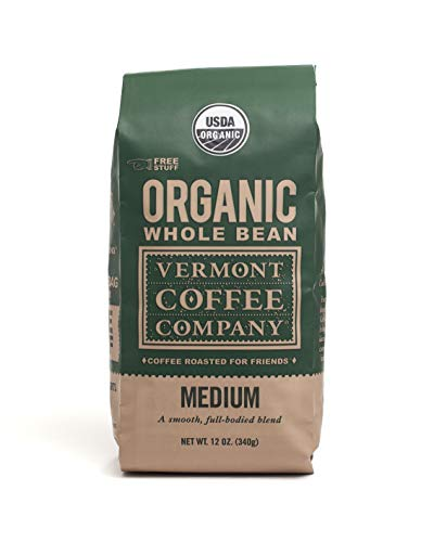 Vermont Coffee Company Medium Roast, Organic, Non-GMO, Whole Bean Arabica Coffee, 12 oz. bag