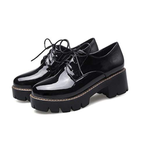 Womens Patent Leather Platform Oxfords Brogue Wingtip Lace Up Chunky Mid Heel Dress Shoes Black