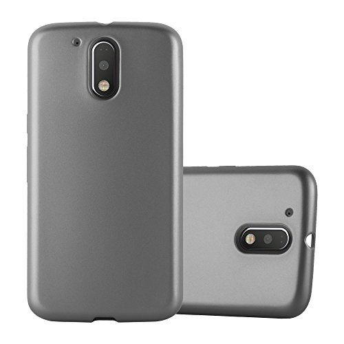 Cadorabo Hülle für Motorola Moto G4 / Moto G4 Plus - Hülle in METALLIC GRAU – Handyhülle aus TPU Silikon im Matt Metallic Design - Silikonhülle Schutzhülle Ultra Slim Soft Back Cover Case Bumper