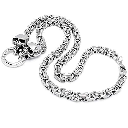 Schmuck-Checker Dicke Königskette mit Skulls und Ringverschluss Edelstahl Halskette Bikerschmuck Totenkopf Schädel Rockerschmuck
