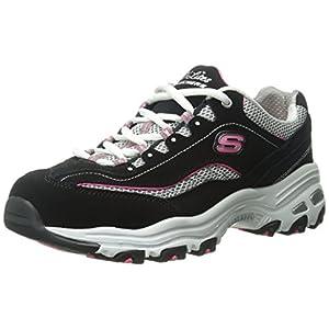 Skechers womens D'lites - Life Saver Memory Foam Lace-up Sneaker,Black/Pink,11 M US