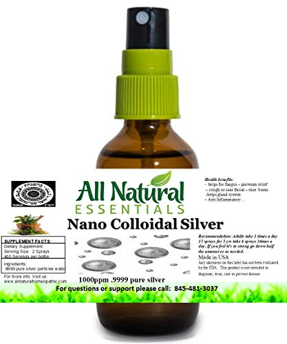 Colloidal Silver Solution 2oz Bottle 1000ppm Nano colloidal Silver Solution Immune Booster Nano Silver Best colloidal Silver Kosher Certified All Natural Liquid Silver Immune Support
