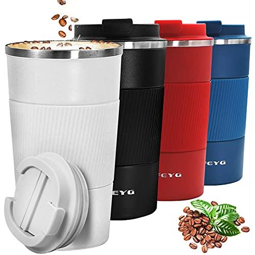 Thermobecher, 510 ml Kaffeebecher Thermo mit Auslaufsicherem Deckel, Edelstahl doppelwandig Isolierte kaffeebecher to go, Coffee to go Becher für heißes und kaltes Wasser Kaffee Tee (weiß-510ml)