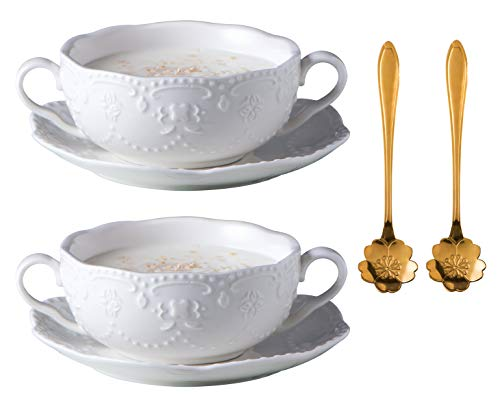 Jusalpha 2 Packs- White Embossed Ceramic Bowl with Double handles and Saucer/Dessert Bowl-Soup Bowl-Cereal Bowl (10 OZ) (2 Sets)