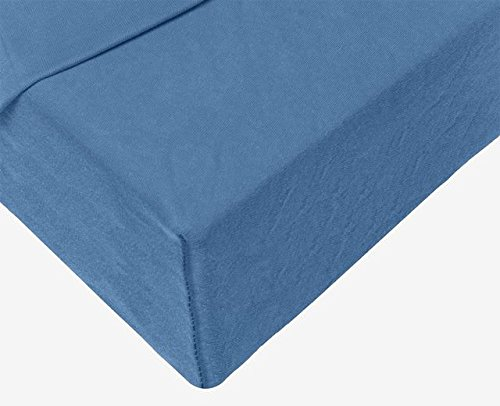 #21 Double Jersey Jersey Spannbettlaken, Spannbetttuch, Bettlaken, 160x200x30 cm, Jeans Blau - 5