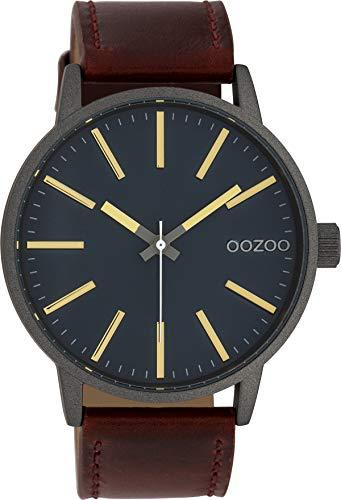 Oozoo Herrenuhr mit Lederband 45 MM Silbergrau/Dunkel Türkis/Rotbraun C10012