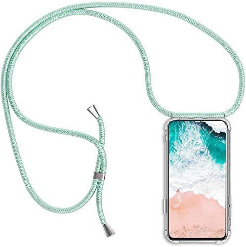 Funda para Samsung Galaxy A5 2017 con Cuerda, Galaxy A5 2017 Carcasa Transparente TPU Suave Silicona Case con Correa Colgante Ajustable Collar Correa de Cuello Cadena Cordón, Verde Menta