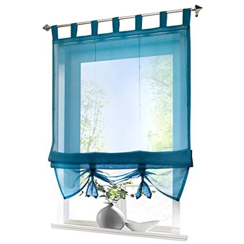 ESLIR Raffrollo mit Schlaufen Gardinen Küche Raffgardinen Transparent Schlaufenrollo Vorhänge Modern Voile Blau BxH 100x155cm 1 Stück