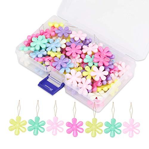Riddur Nadeln Einfädler Set, 100 Stücke Perlen Einfädler, Blume Einfädler, Nadeleinfädler Set für Nähen Sticken Kreuzstich Bastel