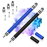 Stylus Pens for Touch Screens, UROPHYLLA Disc Touchscreen Stylus Pens for All Capacitive Touch Screens Cell Phones, Tablets, iPads, Laptops with 7 Replacement Tips (Black/Blue)