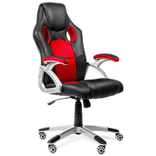 KEWAYES RACING - Silla de Oficina Racing Gaming, sillon de Despacho escritorio Gamer color Rojo, con reposabrazos y ajustable, 4 ruedas