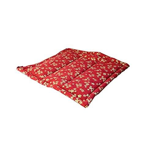 TONGTONG 1 cojín japonés de algodón y lino antideslizante, suave y cómodo, con lazos, 40 cm x 40 cm, color rojo