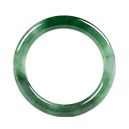 YJZW Mujer Elegante Jade Brazalete Verde Clásico Jade Pulsera, Hecho A Mano Retro Joyería con Caja De Regalo,59~60MM