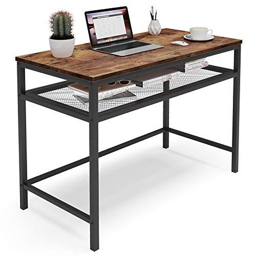 Tribesigns konferenztisch Kleiner Computertisch mit Metallgitter-Lagerregal,Kleiner Schreibtisch aus Holzfaserplatte und Metallrahmen für kleine Räume,100x50x75cm, Vintage/Dunkelbraun
