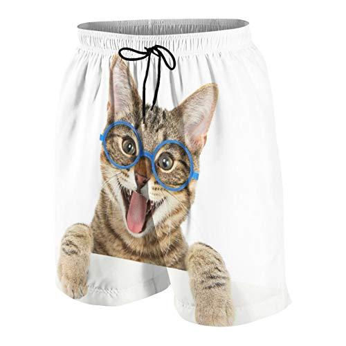 SUHOM Herren Beiläufig Boardshorts,Glückliche Bengalkatze, die Brillen trägt, die über EIN Zeichen schauen,Schnelltrocknend Badehose Strandkleidung Sportbekleidung mit Mesh-Futter