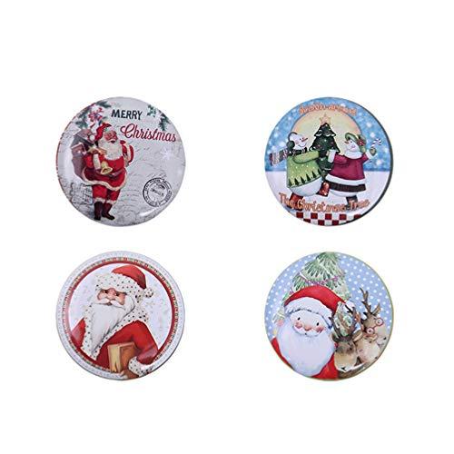 NUOBESTY 4 PZ Barattoli Natale Scatola Caramelle Ferro di Natale Contenitore Box Biscotto Regalo di Natale Decorazione della Tavola di Natale Stile Casuale