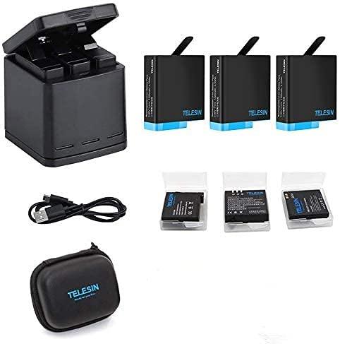 TELESIN Triple Batterieladegerät Set Ladebox + 3 Akkus mit Aufbewahrungskoffern, 6 in 1 Zubehörset für GoPro Hero8 Black/Hero 7/6 / Hero 5 (6 in 1 Charger Battery Kit)