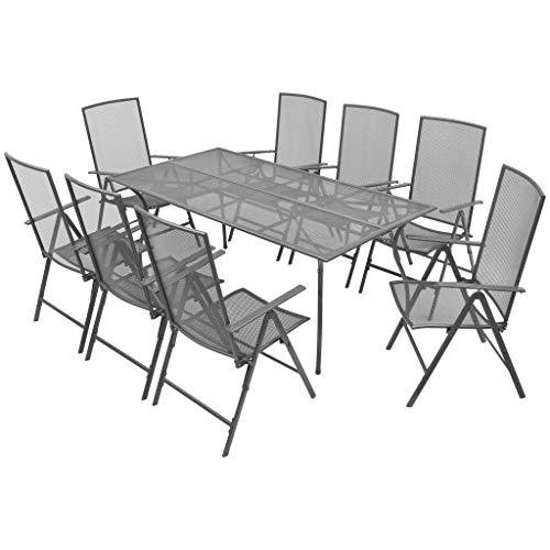 vidaXL Gartenmöbel 9-TLG. Streckmetall Sitzgruppe Gartengarnitur Gartenset