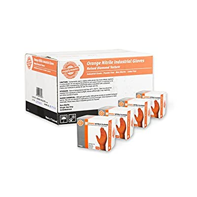 SupplyMaster Orange Nitrile Industrial Disposable Gloves - 8 Mil, Raised Diamond Texture, Powder Free, Non-Sterile, Latex Free, Ambidextrous, Medium, Case of 200