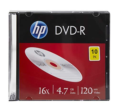 HP DVD-R Lot de 10 disques Vierges 16x 120 Minutes 4,7 Go