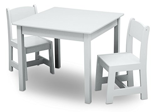 Delta Children MySize Kids Wood Table and Chair Set (2 Chairs Included) - Ideal for Arts & Crafts, Snack Time, Homeschooling, Homework & More, Bianca White