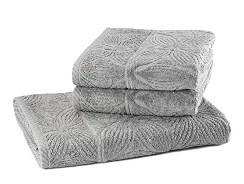 my cocooning Juego de toallas Agatha de 3 piezas, color gris, suave y absorbente, 100% algodón, 1 toalla de ducha grande (70 x 140 cm) y 2 toallas pequeñas (50 x 90 cm), lavable a máquina