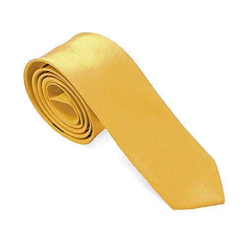 tumundo Krawatte für Hemd Anzug Schlips Binder Business Schmal Herrenschmuck Damen 21 vers. Unifarben Geschenkbox Etui, Variante:goldgelb + Geschenkbox