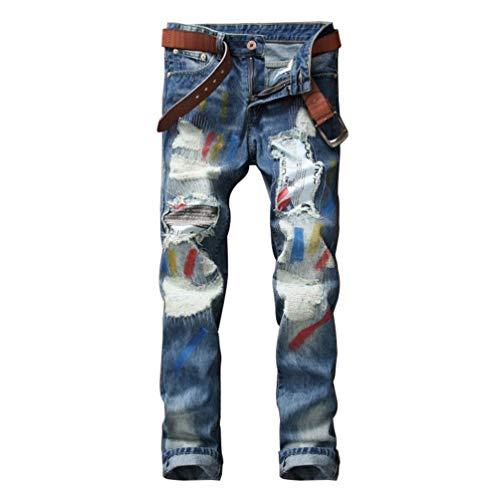HX fashion Mannen Ssig Verzwakte Gescheurde Gaten Comfortabele Maten Cher Broek Graffiti Rechte Slanke Jeans Verf Broek Jeans Broek (Color : LichtBlau, One Size : Size34)