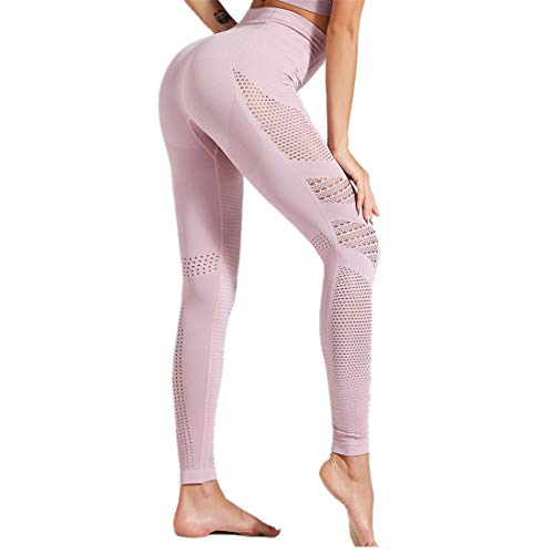 WY1688 High Waist Leggings Women Sport Fitness Yoga Pants Yoga Pants Sports Pants Legging Fitness Pants Yoga Training Pants Body Pants Hips Fitness Pants E-Pink M