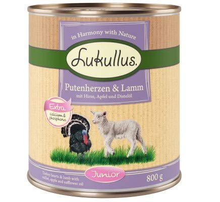 Lukullus Junior Turkey Hearts & Lamb 24 x 800g Delicious Wet Dog Food Young Dogs & Puppy Perfect for Pet Individual Need With Extra Calcium Healthy Growth
