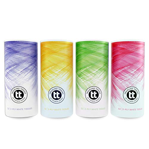 Traveling Tissues Round Cylinder Box Facial Tissues Tubes - 4 Pack, 50 Count Disposable 2 Ply Tissues - Perfect Fit for Car Cup Holder, Travel Bag (Watercolor Variety)